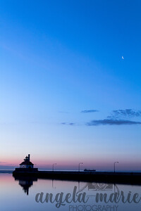 Crescent moon over Lake Superior at dawn