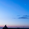Crescent moon over Lake Superior at dawn