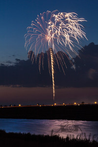 Fireworks and Light Trail in West Fargo, North Dakota