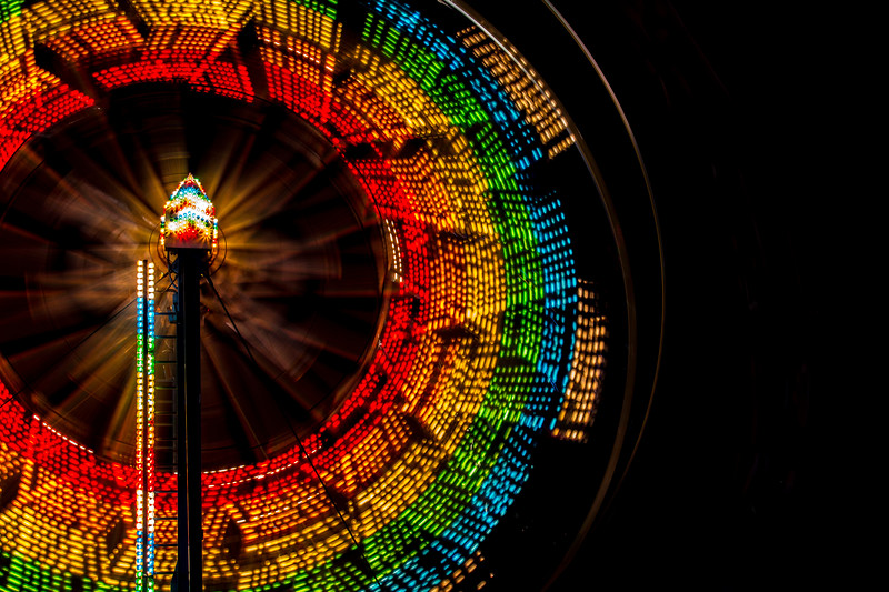 Rainbow Ferris Wheel in Motion Close up
