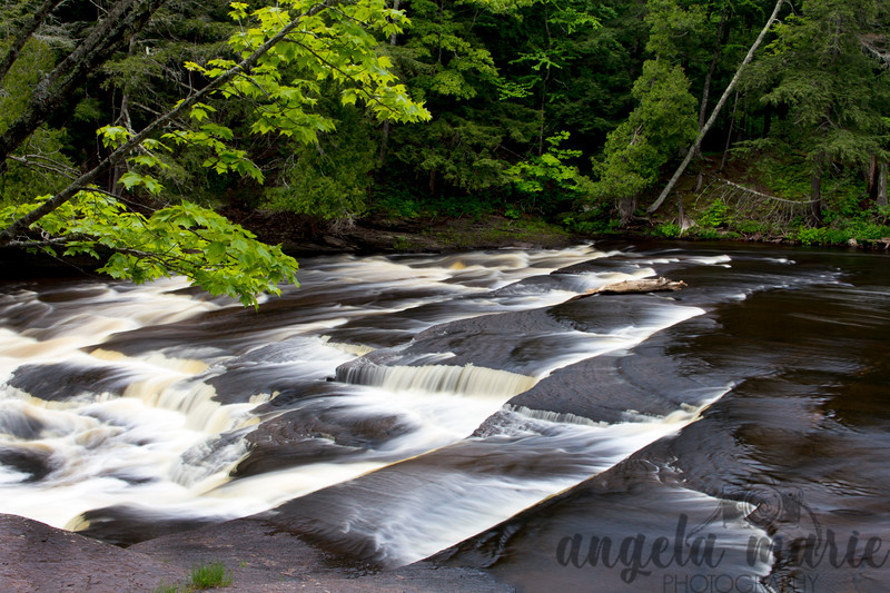 Nawadaha Falls on the Presque River in Michigan