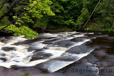 Nawadaha Falls on the Presque River in Michigan