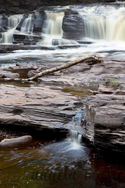 A portion of Manido Falls on the Presque Isle river in Michigan