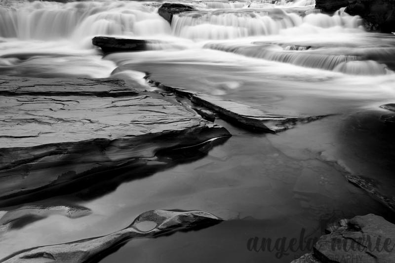 Manido Falls on the Presque Isle River in Michigan in Black and White