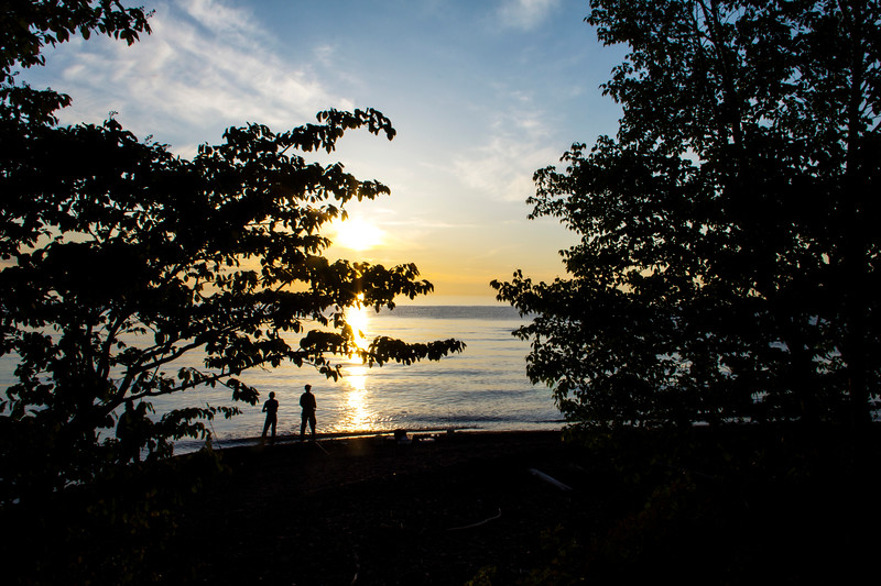 Sunset over Lake Superior at the mouth of the Presque Isle River, Michigan