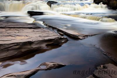 Manido Falls on the Presque Isle River in Michigan in color.