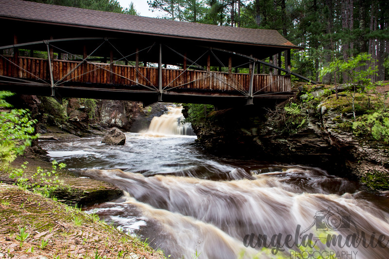 Bridge, Upper and Lower Falls in Amnicon Falls State Park, Wisconsin