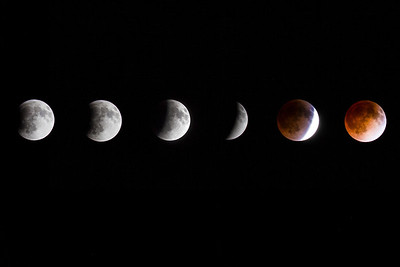 Composite of the moon during the lunar eclipse on April 15th 2014. The pictures were taken from my backyard in West Fargo, ND