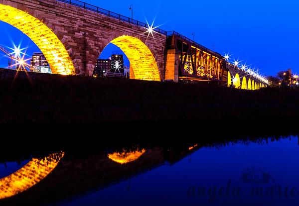 Stone Arch Bridge and Reflection, Minneapolis, MN