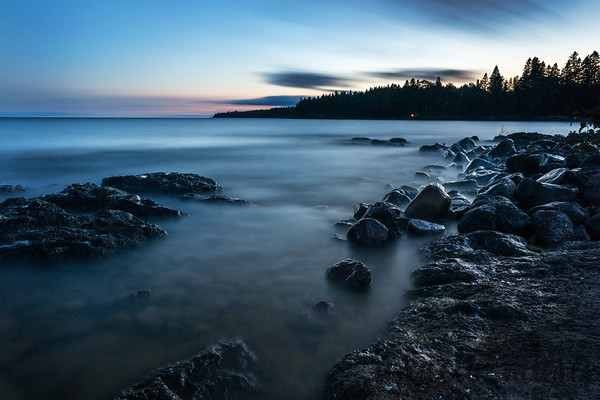 Lake Superior Shore and Campfire at Dusk