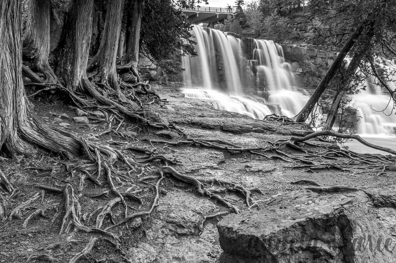 B&W version of Middle Falls Picture