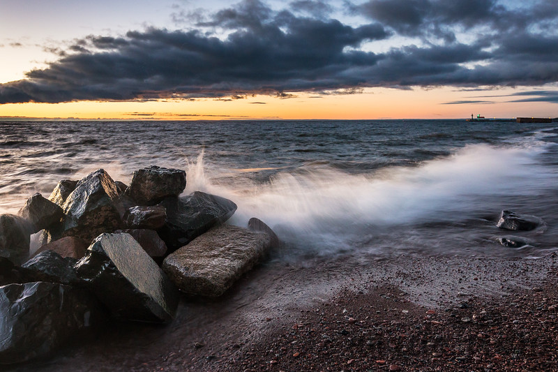 Crashing Waves at Sunrise in Canal Park in Duluth, Minnesota