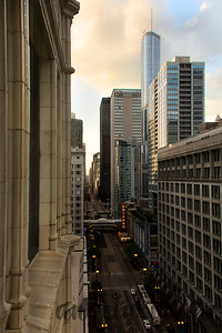 Chicago Theater sign viewed from Hotel Burnham in the Reliance Building