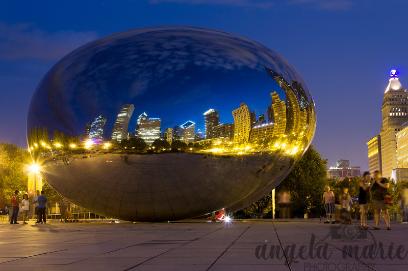 Chicago skyline reflected in Cloud Gate (a.k.a. The Bean)