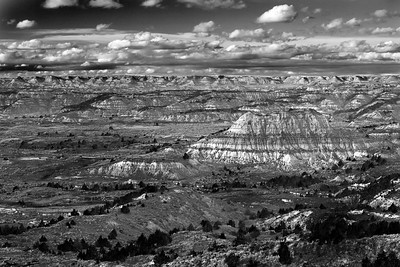 Painted Canyon in Black and White - Theodore Roosevelt National Park
