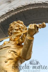 Johann Strauss statue in Stadtpark in downtown Vienna.