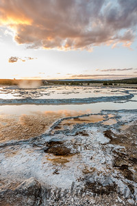 Great Fountain Geyser Sunset II - Firehole Lake Drive