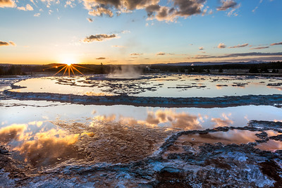 Great Fountain Geyser Sunset - Firehole Lake Drive