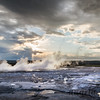 Fountain Geyser at Sunset with Storm Brewing - Fountain Paint Pot Trail