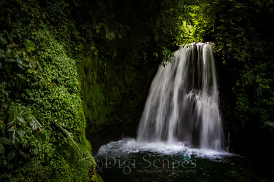 Light creeping in at Danta Waterfall, located in the Arenal Volcano National Park, Costa Rica