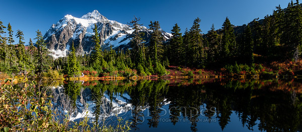 Mt Shuksan Panorama, reflecting in the water of Highwood Lake in the Mt. Baker-Snoqualmie National Forest