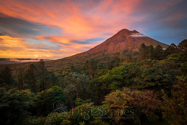 Sunset at Arenal Volcano in Arenal Volcano National Park, Costa Rica