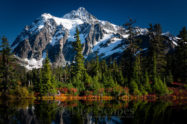 Mt Shuksan reflecting in the water of Highwood Lake - Landscape 2