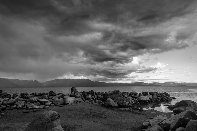 Beach Rocks with Storm Clouds