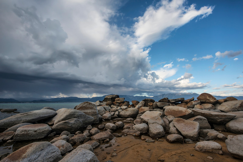 Beach Rocks with Clouds