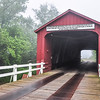 Red Covered Bridge in the Fog