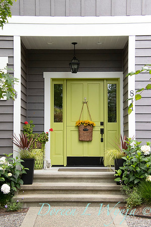 Contemporary front entry - green Dutch door_5261