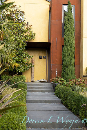 Buxus lined concrete slab entry way_7567
