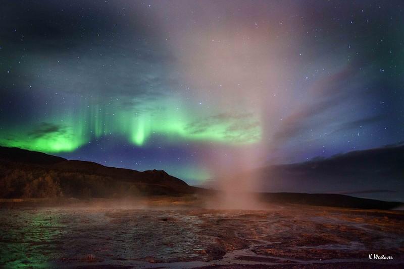 Geysir, Iceland.  September 2015. Geyser with northern lights in the background. Thrilling!