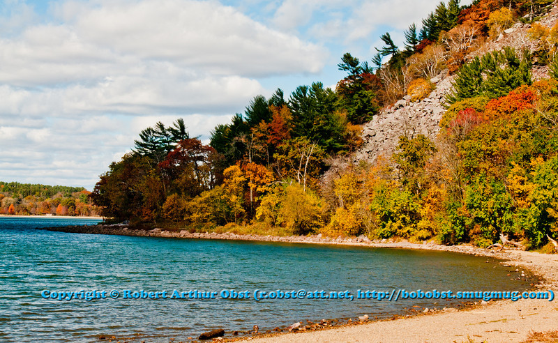 Blue skies and colorful autumn trees and turquoise waters highlight the southeastern shores of Devils Lake within Devils Lake State Park (USA WI Baraboo; RAO 2012 Nikon D300s Image 4223)
