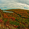 Autumn foliage frames Lake of the Clouds and the Lower Carp River within Porcupine Mountains Wilderness State Park (USA MI Ontonagon)
