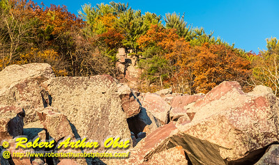 """Hiker's view from the Balanced Rock and Ice Age Trails of Balanced Rock and the east bluff within Devil's Lake State Park during autumn - Images from FAV or Favorite Obst Family OUTINGS within sixty miles or 60 MI or about an hour drive of the Madison and Middleton areas within southern Wisconsin USA"" (USA WI Baraboo; Obst FAV Photos Nikon D800 Daily Best Obst Image 4485)"