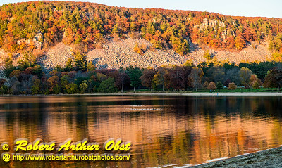 """Ice Age and South Shore trails hiker's view of ducks and picnickers enjoying autumn reflections over Devil's Lake within Devil's Lake State Park - Images from FAV or Favorite Obst Family OUTINGS within sixty miles or 60 MI or about an hour drive of the Madison and Middleton areas within southern Wisconsin USA"" (USA WI Baraboo; Obst FAV Photos Nikon D800 Daily Best Obst Image 4506)"