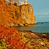 Blazing autumn foliage and bright blue skies frame cliff top Split Rock Lighthouse Minnesota State Historic Site on Lake Superior (USA MN Two Harbors; RAO 2012 Nikon D300s Image 3820)