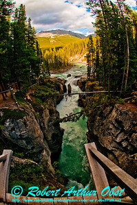 Hiker's view of Sunwapta Falls plunging into a limestone gorge within Jasper National Park (Canada Alberta Jasper)