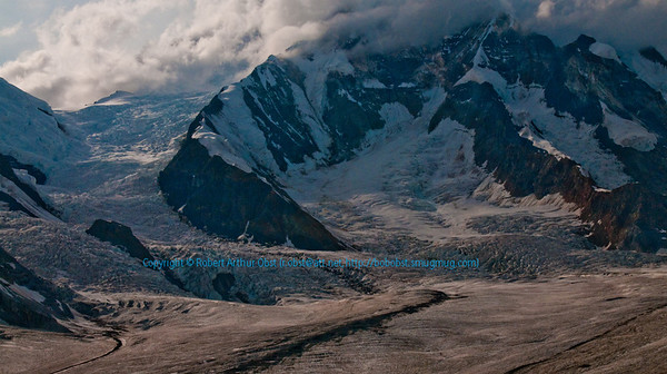 Near top of Kennicott Glacier which flows off Regal Mountain northwest of Kennicott within Wrangell St. Elias National Park and Preserve (USA Alaska McCarthy)