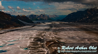 View of Kennicott Glacier and its base outflow flowing off Mount Blackburn and Atna Peaks and Regal Mountain within Wrangell St. Elias National Park and Preserve (USA Alaska McCarthy)