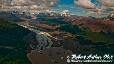 View of Nizina Glacier and its base outflow flowing off Regal Mountain within Wrangell St. Elias National Park and Preserve (USA Alaska McCarthy)