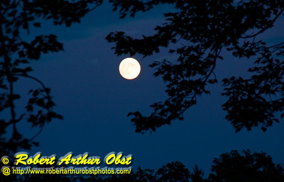 Full moon rising in clear cobalt northeastern WI skies over Waubee Lake near the Waubee Lodge (USA WI Lakewood)