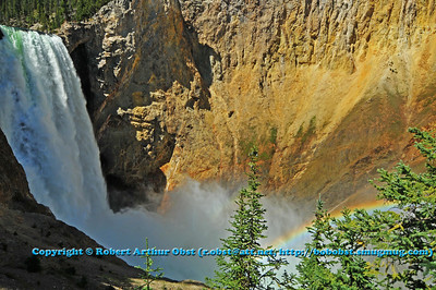 Rainbows dancing with Lower Falls whitewater within the Grand Canyon of the Yellowstone River (USA WY)