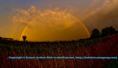 Gold at the end of the rainbow ? - Spectacular double full rainbows over central Illinois Olge County farmlands during an evening rainstorm from I 39 and US Highway 51 south of Rockford (USA IL Olge County Rochelle)