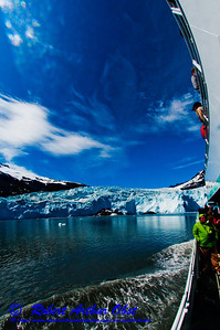 The Aialik Glacier flowing into Aialik Bay of the Pacific Ocean under blue skies from tour boat within Kenai Fjords National Park of the Kenai Peninsula (USA Alaska Seward)
