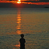 Classic sunset over a serene Lake Superior highlights my son by Lake Superior Provincial Park's Agawa Bay (Canada ON)
