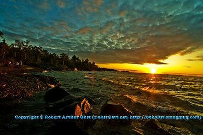 Dazzling Lake Superior Copper Harbor Michigan Sunset from Hobard State Park (USA MI)