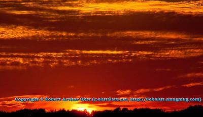 Blood red light floods sky over Wolf River Refuge woods at sunset (USA WI White Lake Langlade; RAO 2012 Nikon D300s Image 2830)