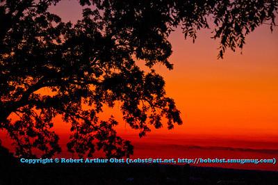 Scarlet sunset over southwestern Wisconsin dairylands (USA WI Dodgeville)
